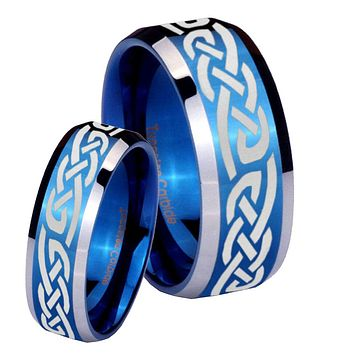 His Hers Celtic Knot Infinity Love Beveled Blue 2 Tone Tungsten Men's Wedding Band Set