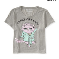 Aeropostale  Womens Crazy Cat Lady Cropped Graphic T-Shirt
