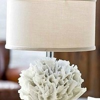 White Coral Base Beach Lamp