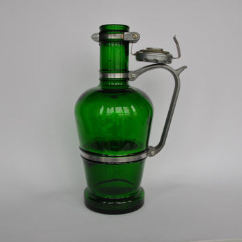 Vintage German green glass beer jug with metal handle. Heavy duty metal lid. Beer growler.