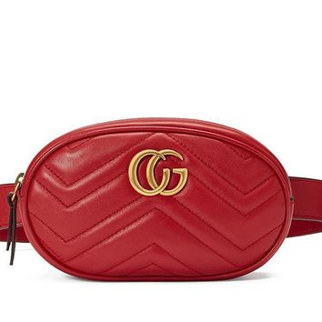 Gucci Women Personality Fashion Logo Letter Waist Bag Chest Bag Mini Small Round Bag