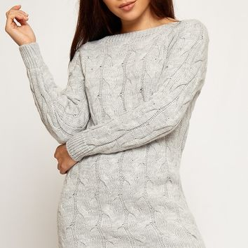 Meadow Cable Knit Long Sleeve Jumper Dress | WearAll