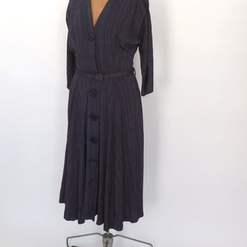 Vintage Classic 1940's 50s Navy Blue Pinstripe Day Dress Button Up Shirt Dress Medium Nautical Dress 40s Tea Dress Full skirt Pin Up
