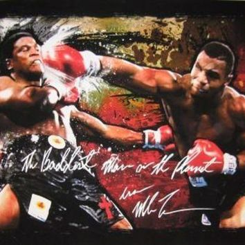 ICIKJNG Mike Tyson Signed Autographed 'The Baddest Man On The Planet' 24X37 Canvas Print vs. Berbick (ASI COA)