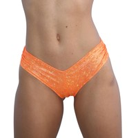 Orange Cheeky Booty Shorts Holographic Rave Wear