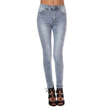 High Waisted Super Grey Skinny Jeans