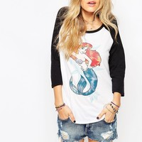 Vans Disney Raglan Long Sleeve Top With Ariel Mermaid Print
