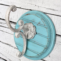 Wall hook //  Blue Hook  // Cast Iron Hook // Coat hook // towel hook // Iron hook // bathroom hook // bedroom hook // shabby hook