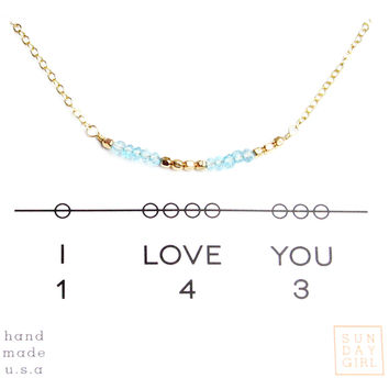 """I Love You"" Gemstone Secret Code Necklace - Apatite"