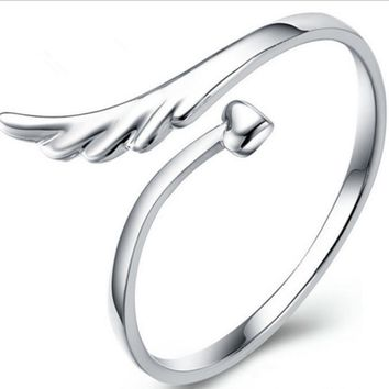 Angel Wing Heart Opening Adjustable Ring