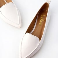 Emmy White Pointed Loafers