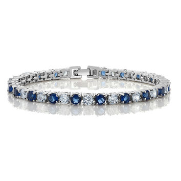 10.00 Ct Round Cut Blue Simulated Sapphire and Zirconia Tennis Bracelet 7""