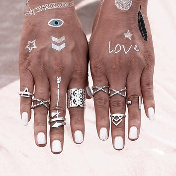 8 PCS Bohemian Style Vintage Anti Silver Color Rings for Women Tibetan Infinity Arrow Punk Boho Rings Set 8CRD116