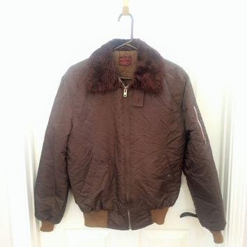 Vintage 80s Brown Nylon Bomber Jacket / 1980s Jacket / Small / Medium