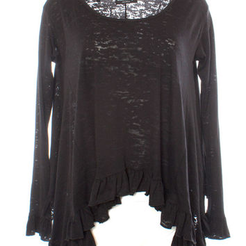 Basically Me Shorter Length Long Sleeved Burnnout Knit Ruffle Tee (Black)