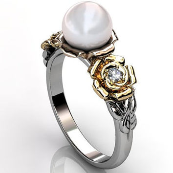 14k three tone white, rose and yellow gold South Sea pearl diamond unique floral engagement ring, bridal ring, wedding ring ER-1090-6