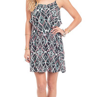 Aztec Babe Printed Flounce Dress