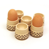 6 Vintage cream Egg cups. Brown flower pattern. Egg cup holders. Set of 6. Plastic House ware / Kitchen.