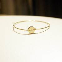 initial bangle - Initial Bracelet in Gold and Silver, Initial Bangle Bracelet, Custom Initial Jewelry, Personalized Bracelets