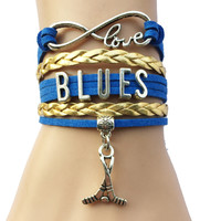 Infinity Love St. Louis Blues Hockey Charm Bracelet- NHL Sports Team