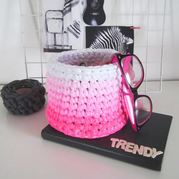 Pink Ombre Crochet Basket - Ombre Neon Pink Air Plant Container - Trendy Storage Baskets - Modern Decor