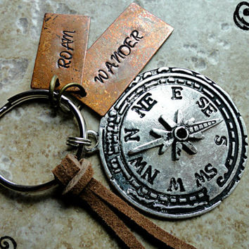 Roam Wander Copper and Silver Compass Charm Hand Stamped Keychain Key fob