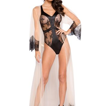 Elegant Sheer Maxi Length Robe with Eyelash Lace Detail