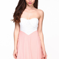 LACE BUSTIER CHIFFON DRESS
