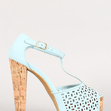 Bamboo Nubuck Perforated T-Strap Cork Platform Heel