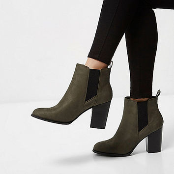 Khaki heeled Chelsea boots - Boots - Shoes & Boots - women