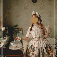 Cheap Magic Tea Party The Squirrel Couple\'s Afternoon Series Printing Sling Dress And Shawl Sweet Lolita Sale At Lolita Dresses Online Shop
