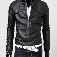 (Free Shipping) Laconic and Mix-Matched Button Embellished Slim Pelisse For Male China Wholesale - Sammydress.com