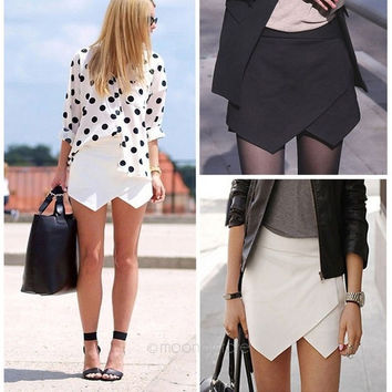 2014 Celebrity Fashion Women Asymmetrical Hem Career Tiered Culottes Black & White Skirt Shorts Wrap Mini Skirts = 1946826692
