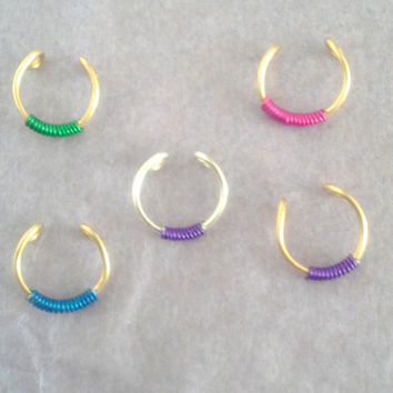 Tribal Septum \faux piercing Fake Nose Ring Cuff  Custom jewelry No Piercing Required-piercing imitation- clip on ring- For Him/ For Her