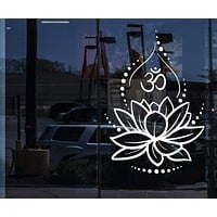 Window Wall Vinyl Decal Lotus Flower Yoga Hinduism Hindu Om Symbol Stickers Unique Gift (ig4625w)
