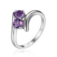 Silver Classic 0.66ct Round Amethyst Engagement Ring