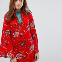 Glamorous Long Sleeve Shift Dress With High Collar In Romantic Floral at asos.com