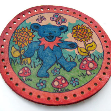 Leather patch, upcycled, dancing bear, Grateful Dead, hand drawn and colored, coated with protective lacquer, sew on patch, hippie fun