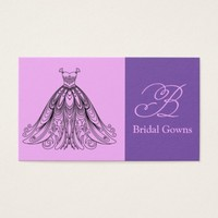 Pink Lavender Lilac Bridal Gowns Business Card. Business Card