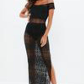 Missguided - Black Crochet Bardot Maxi Dress