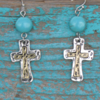 western cross earrings with turquoise | Elusive Cowgirl