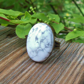 White Howlite Large Cabochon Stone Ring - Adjustable Band