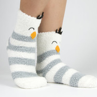 Penguin and snowflake Christmas and holiday fuzzy socks with pom poms boxed gift set