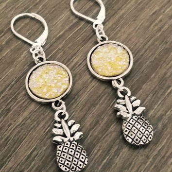 Druzy earrings- silver tone yellow druzy pineapple earrings