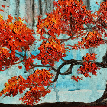 A Rainy Morning, Tree of Life, Original Painting, Red Tree, Bonsai Tree