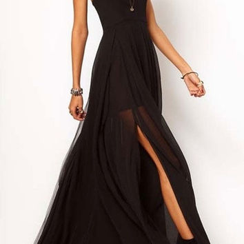 Eye-catching Strap Chiffon Maxi Dress = 5698594945
