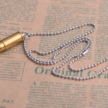 Mini Bullet Shape Necklace Pendant Titanium Waterproof Medicine Box Pill Case