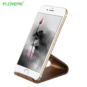 FLOVEME Wooden Stand Holder For iPhone 6 6S 7 Plus 5 5S SE Desk Holder Universal Phone Stand For Samsung S8 S7 Huawei Mate9 iPad