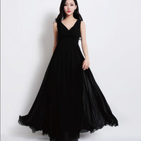 Black Party Event Cocktail Sexy A-line Maxi Strap Dress Bohemian Full Pleated Skirt Prom Holiday Flowy Sweep Ball Gown Wedding Bridesmaid
