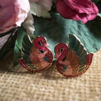 Cloisonne Swans Clip On Earrings Red Green Pink Enamel 1970's Fashion Jewelry from A Vintage Addiction